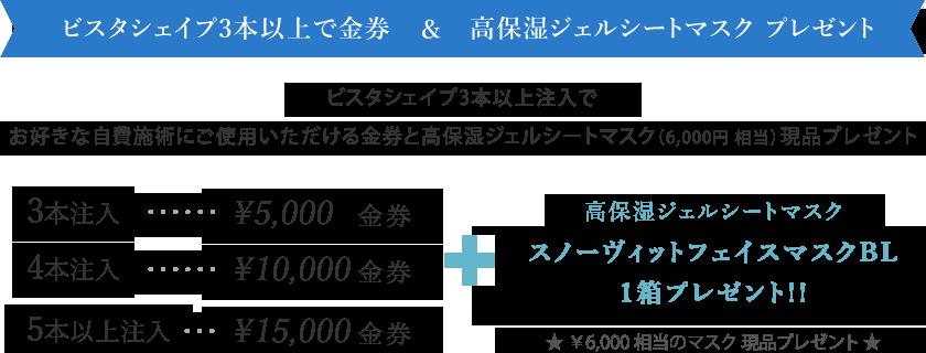 ヒアルロン酸 ビスタシェイプ3本以上注入で金券チケット&高保湿パックプレゼント!!